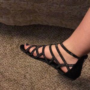 Vanity Shoes - vanity black sparkle sandals